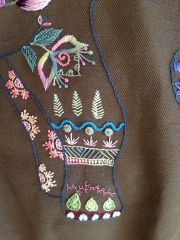broderie, éléphant, veste brodée, point de chaînette, point de poste, point de noeud, house of embroidery
